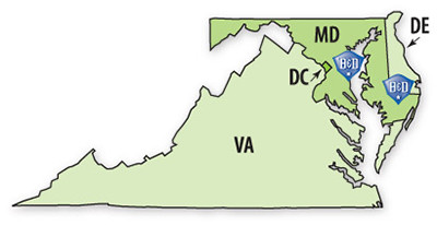 Map of Where Bausum and Duckett Serves in MD, DE, VA